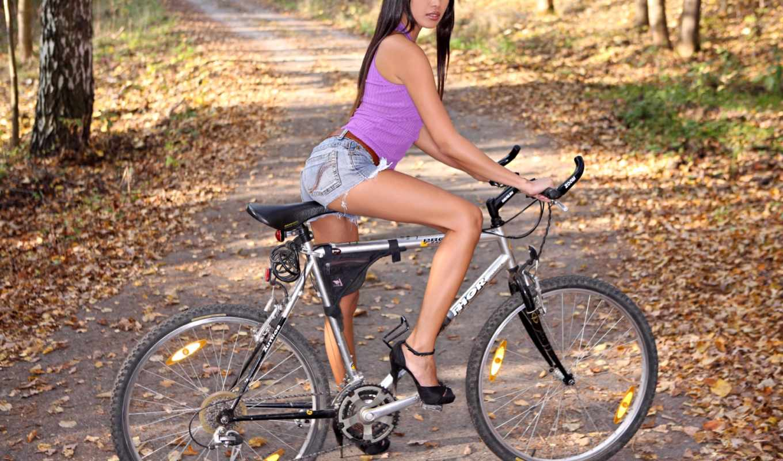 велосипед, devushki, devushka, park, vzglyad,
