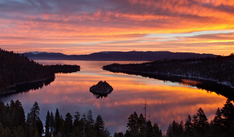 озеро, тахо, калифорния, usa, tahoe, природа, лес, landscape,