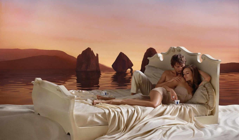 кровать, девушка, coffee, парень, вместе, картинка,