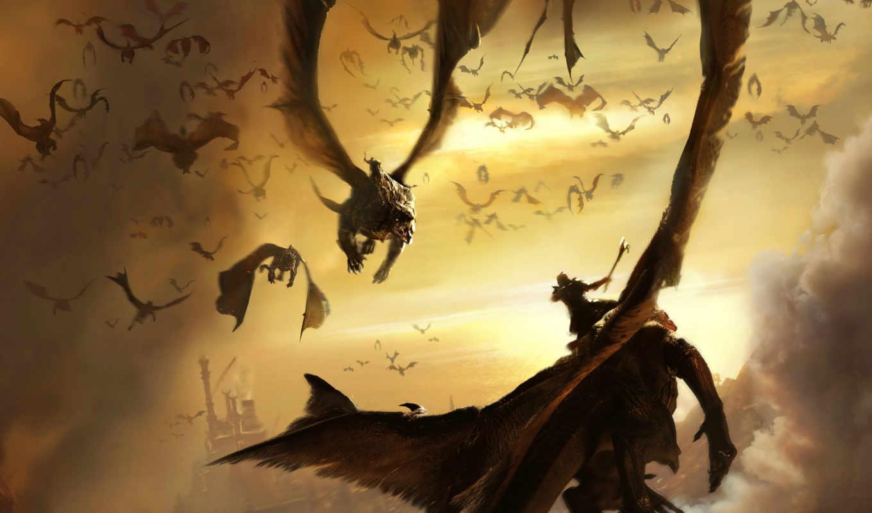войны, красивые, кликабельно, драконы, воин, еще, warriors, битва, катом, под,