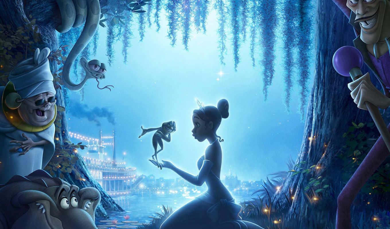 принцесса, лягушка, сказ, cartoon, река, ночь, фильмы, miracle,