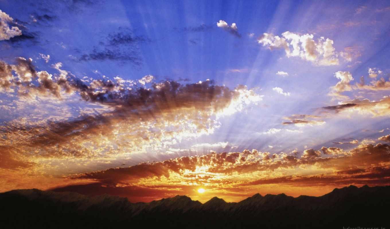 rays, солнца, солнечные, солнечный, солнечных, лучшей, заката, красивая, картинка, landscape, природа,
