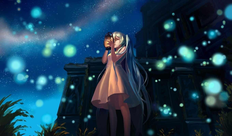 art, ночь, anime, вокалоид, девушка, lantern, hatsune, miku, vocaloid,