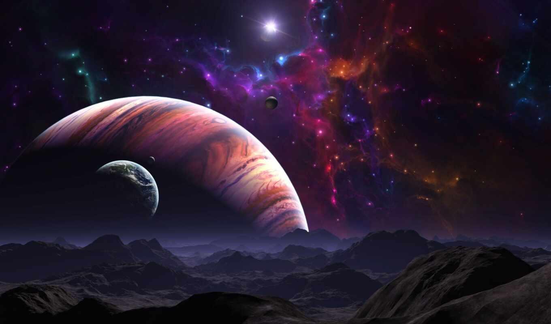 космос, планеты, звезды, ort, ein, картинка, картинку, гигант, газовый, planets, поверхность, der, планета, горы, outer, звезда, галактика, вселенная, ландшафт,