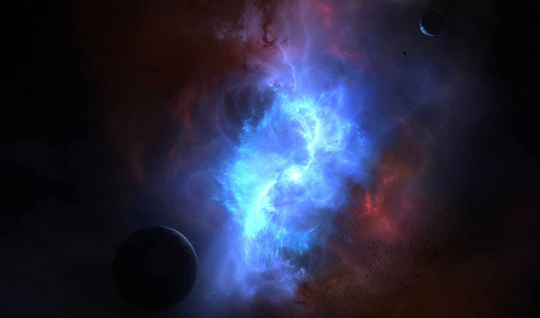космос, свечение, астероиды, планеты, туманность, картинка,