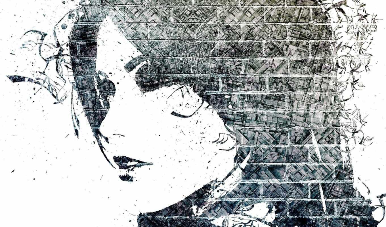 девушка, чёрно, art, девушки, лицо, white, кирпич,