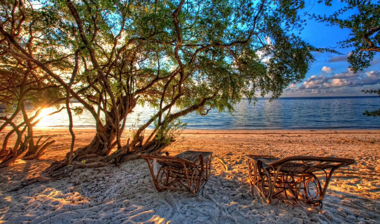 пляж, priroda, more, берег, тропики, дек, природа, пляж, небо, chillout,