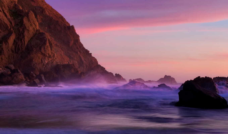 ocean, тихий, закат, пляж, калифорния, cliff, сумерки, камни, качестве, самые,