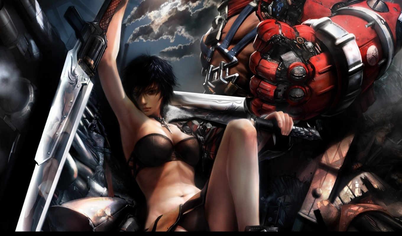 рука, девушка, art, механическая, мечи, posture, мужчина,