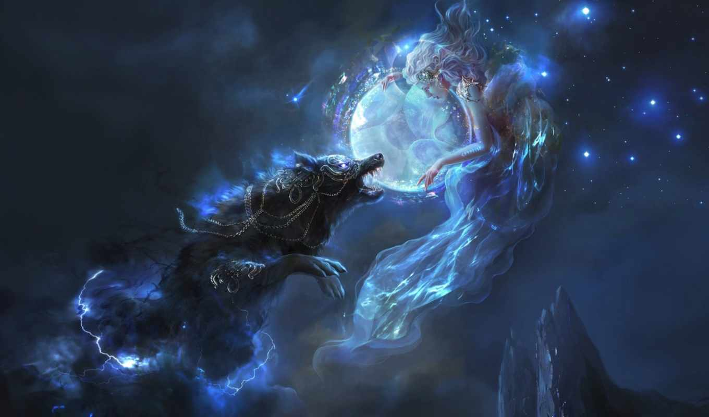 волк, луна, ночь, горы, волки, луну, девушка, звезды, lightning, howling,