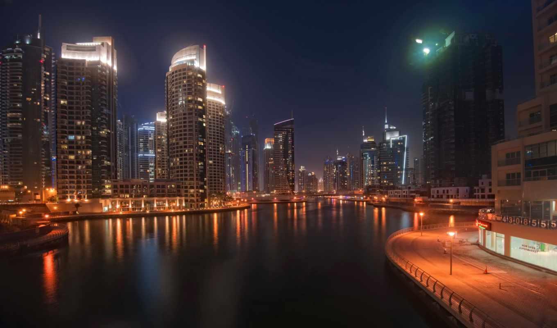 город, огни, ночь, телефон, небоскребы, dubai, water, города, городов, мост, красивые,