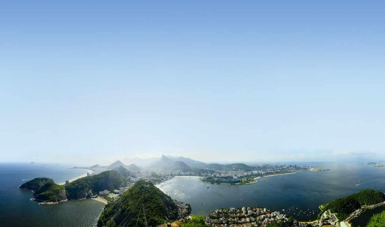 пляж, copacabana, rio, janeiro, brazil, терасса, penthouse, located, взгляд, aerial,