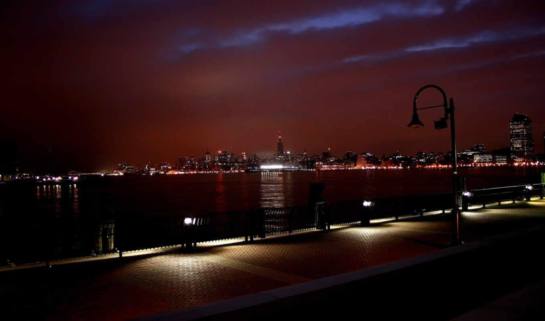 , york, night, new, skyline,