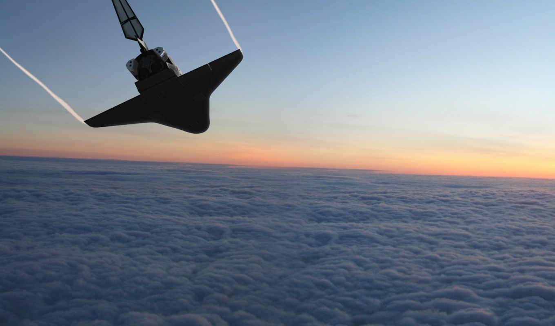 шатл, облака, земля, поверхность, полет, спуск, картинка,