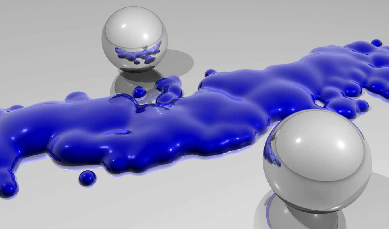 краска, металлик, spheres, splash, silver, around, blue,