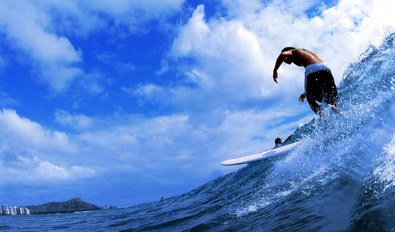 парень, море, сёрфинг, волна, брызги, oblaka,