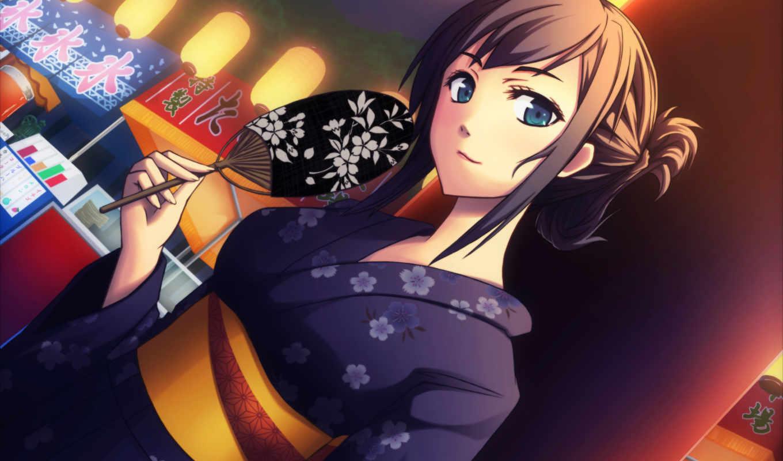 anime, девушка, кимоно, art, fan, картинка,