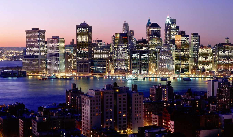 york, new, нью, город, ночь, небоскребы, огни, небо,