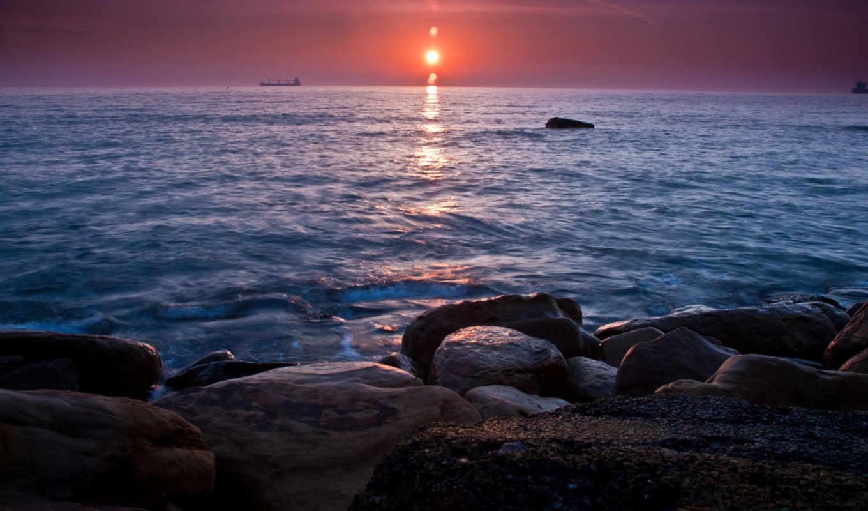 море, корабли, камни, закат,