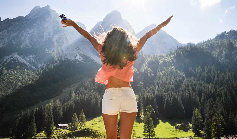 природа, девушка, devushki, лес, австрия, горы, радость, freedom, деревя,