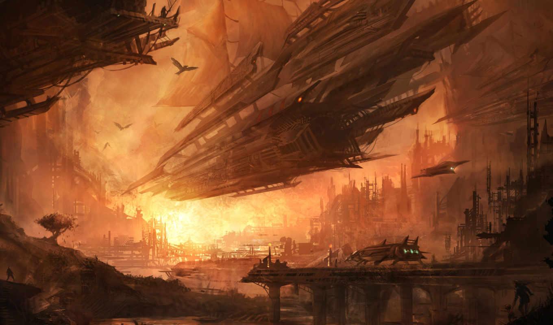 корабль, invincible, два, будущее, рисунок, девушка,