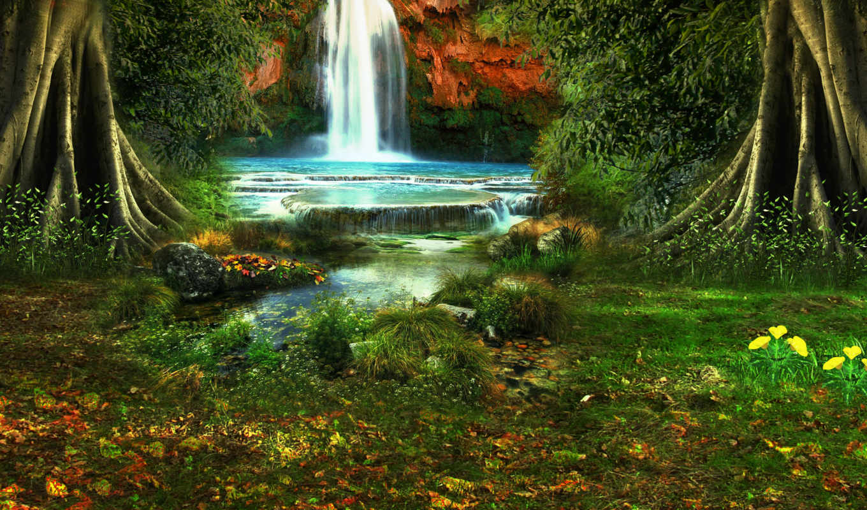 водопад, природа, деревя, цветы, browse, landscape, растительность,