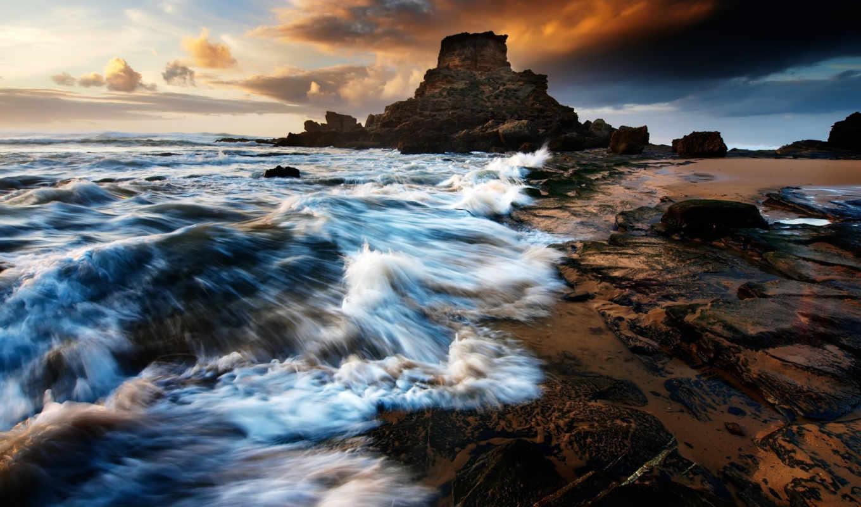 море, скалы, волны, закат, небо, пляж, камни, природа, water,
