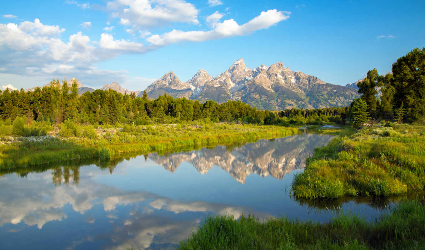 grand, teton, park, national, wyoming, озеро, mountains, горы,