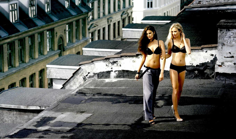devushki, белье, нижнем, две, крыше, город,