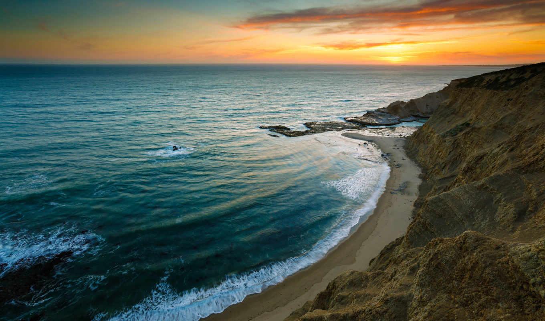 берег, скалы, море, волны, закат, небо, nature, вечер, прибой, картинку, beach, картинка,