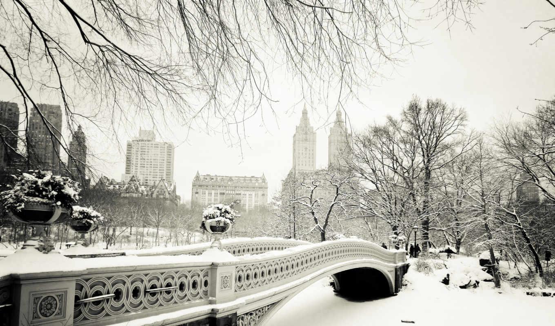 bridge, park, bow, central, new, йорк, нью, сша, manhattan, city, nyc, usa, winter,