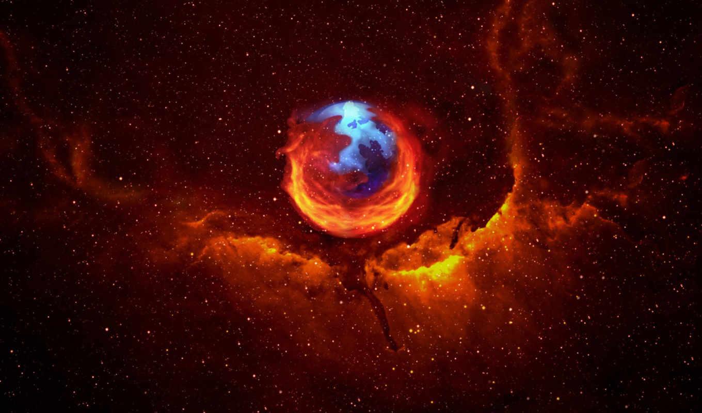firefox, небо, звезды, ночь