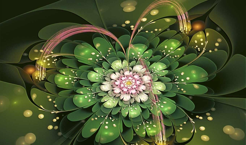цветы, fractal, petals, preview, фон, розовый, desktop,