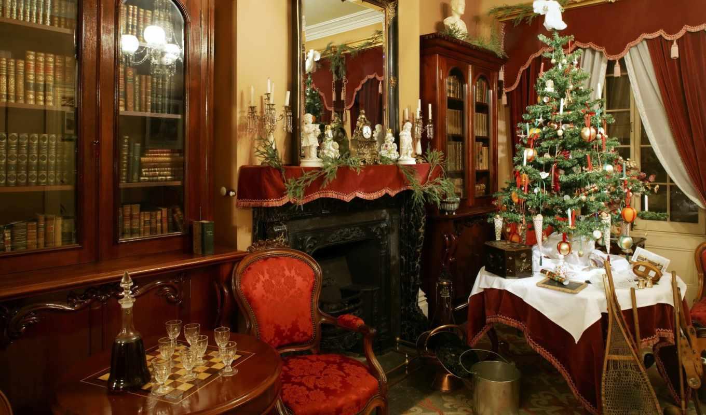 год, new, christmas, интерьер, праздник, стулья, дерево,