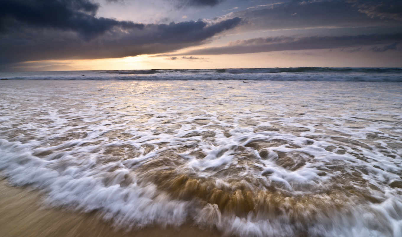море, небо, волны, закат, seafoam, oblaka, ocean, качества, испания, высокого,