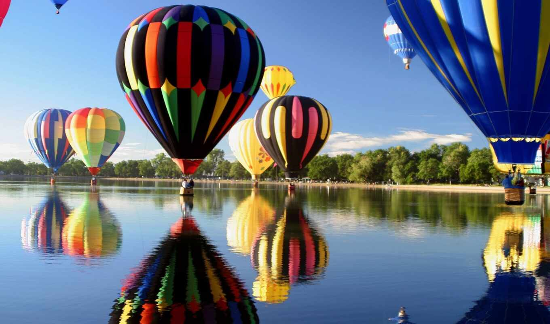 полет, воздушные, шары, share, воздушном, aerial, мяч, небо, oblaka,