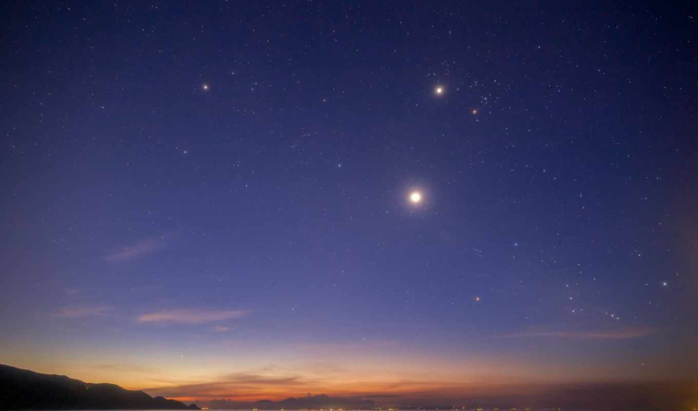 небо, пейзаж, звезды, вечер, горизонт, красота, закат, берег, вода, река, картинка, картинку, созвездие, мыши, кнопкой,