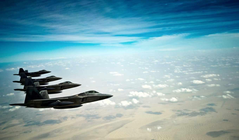 raptor, земля, небо, истребители, самолеты, fighters, stealth, облака, авиация, картинка, полет,