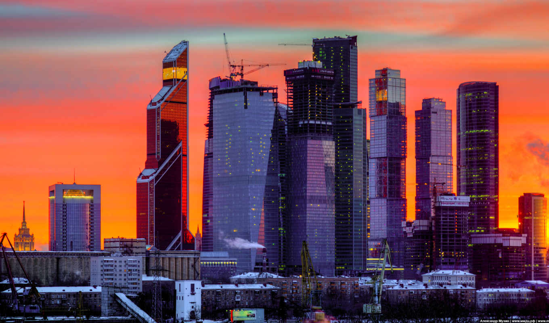 москва, город, ночь, картинка,