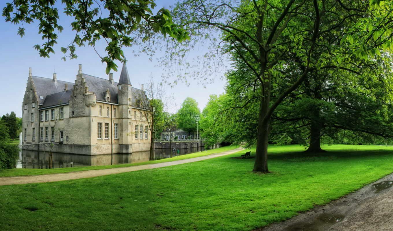 города, бельгия, замки, doma, трава, категории, мира, cortewalle,