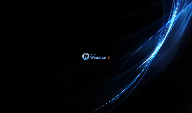 windows, Se7en, лого, чёрный, голубой