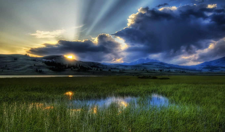 лучи, sun, свет, солнца, природа, трава, сумеречные, пейзажи -,