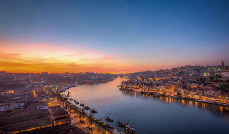 португалия, porto, город, река,