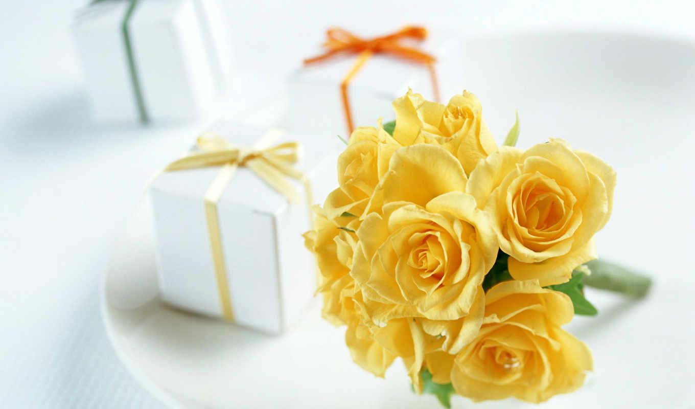 розы, желтые, тарелочке, роза, розовая, лепестками,