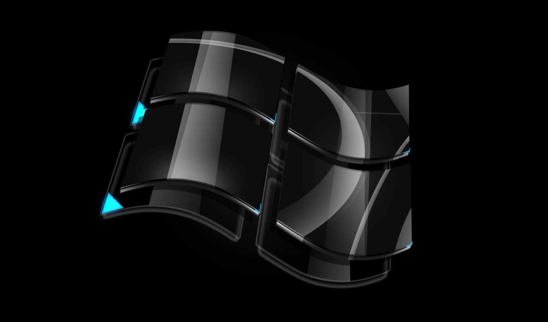 windows, black, широкоформатные, логотип, vista,