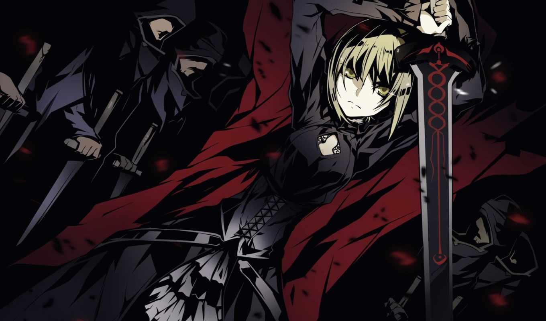 fate, ночь, stay, saber, девушка, картинка, anime, art, меч,