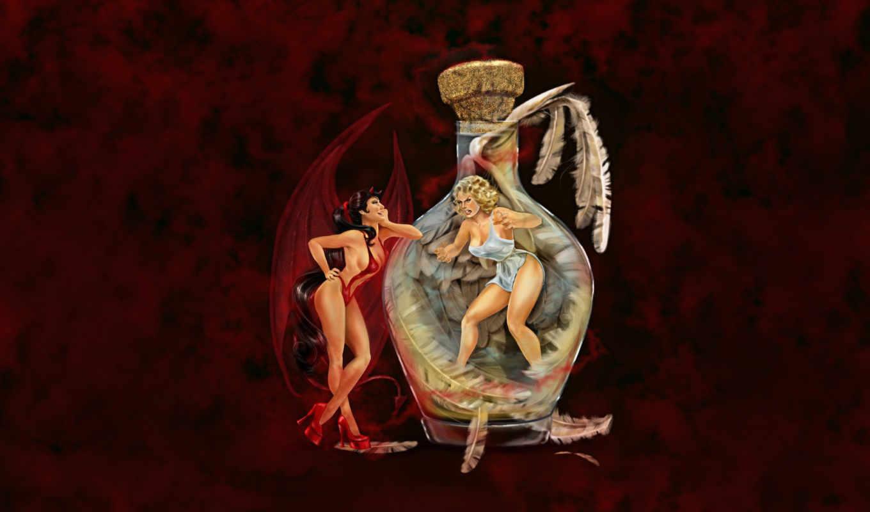 крис, лара, де, cris, фэнтези, художницы, работы, ангел, иллюстратора, картинку, девушки, fantasy, дьяволица, художница, канаде, ангелы, демоны, работает, demons, она, февр,