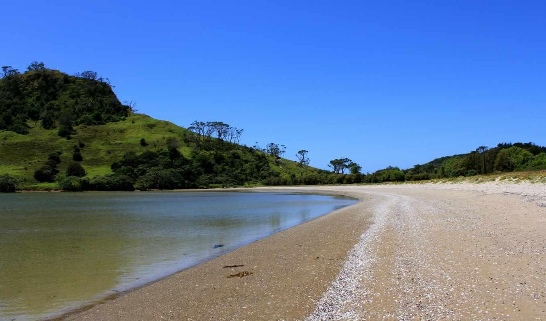 вода, песок, деревья, озеро, берег, холмы, зелень,