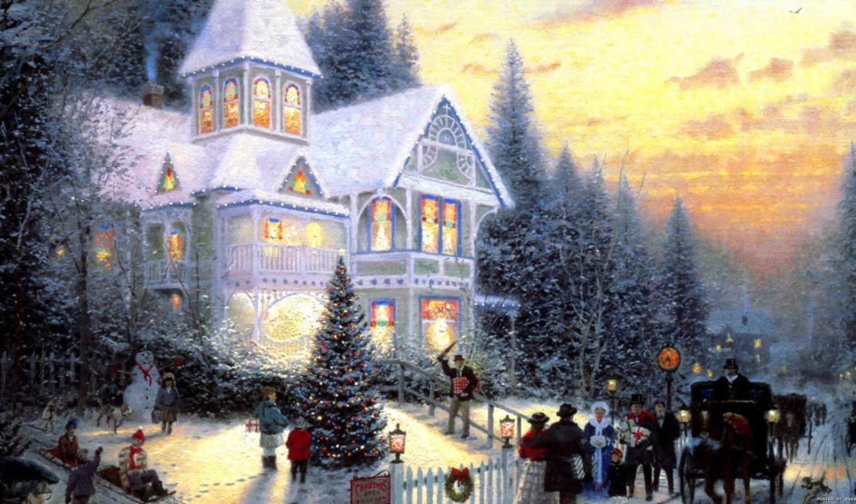 christmas, kinkade, томас, коттедж,