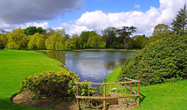картинка, паркс, природа, пруд, газон, neighborhood,